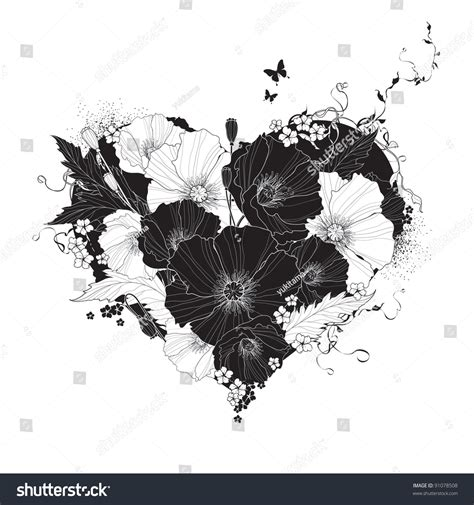 abstract floral heart black  white stock vector