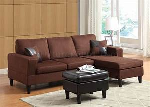 15900 robyn sectional sofa ottoman chocolate microfiber acme for Brown microfiber and leather sectional sofa with ottoman by acme