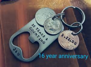 16th wedding anniversary gifts for him 16th anniversary keychain 16 year anniversary gift for him