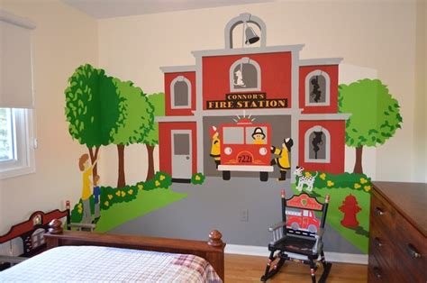 Truck Wallpaper Childrens Decor by Station Themed Room Traditional Wall Decor