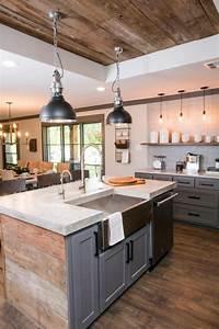 la cuisine equipee avec ilot central 66 idees en photos With lampe salle À manger pour petite cuisine Équipée