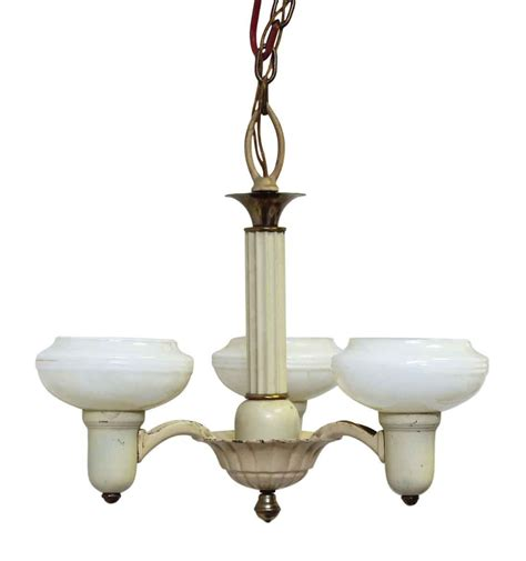 Glass Shades For Chandelier by Vintage 3 Arm Yellow Chandelier With White Glass Shades