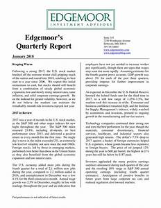 Edgemoor Investment Advisors' Quarterly Report January ...