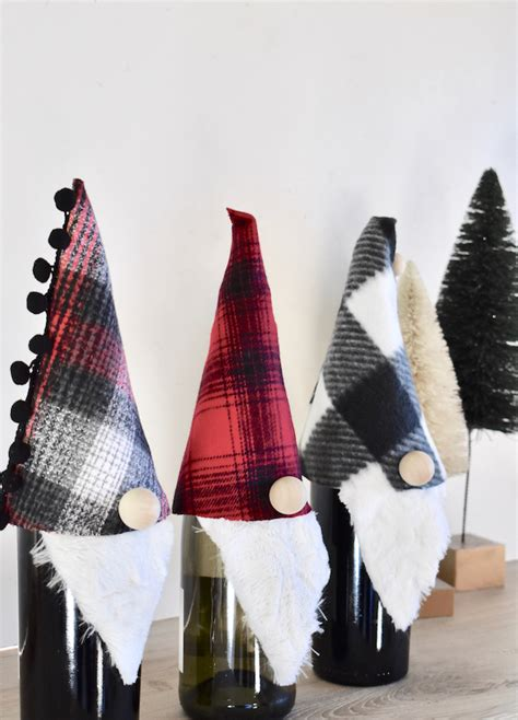 gnome   holidays   diy gnome wine bottle topper