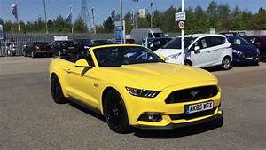 Used Ford Mustang 5.0 V8 GT 2dr Auto CONVERTIBLE Yellow 2015 - YouTube