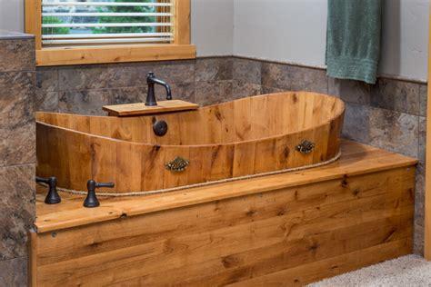 rustic bath tubs brasada ranch custom designed master bathroom wood soaking tub rustic bathroom other by