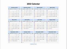2032 Calendar Blank Printable Calendar Template in PDF