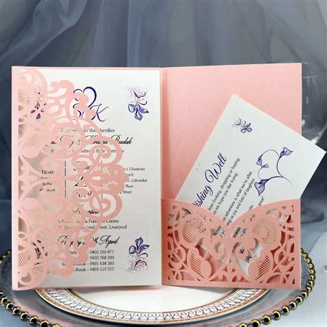 100pcs Laser Cut Wedding Invitations With RSVP Cards