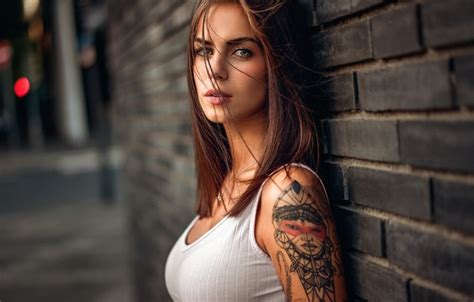 wallpaper  girl model tattoo martin kuehn marlen