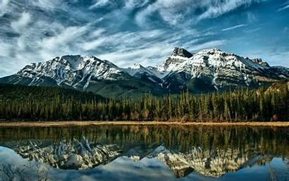 Mountains Mountain Lake Snowy Water Trees Canada