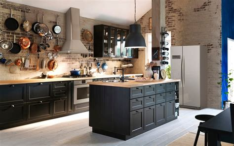 ikea black brown kitchen cabinets create classic drama with black brown and oak ikea 7433