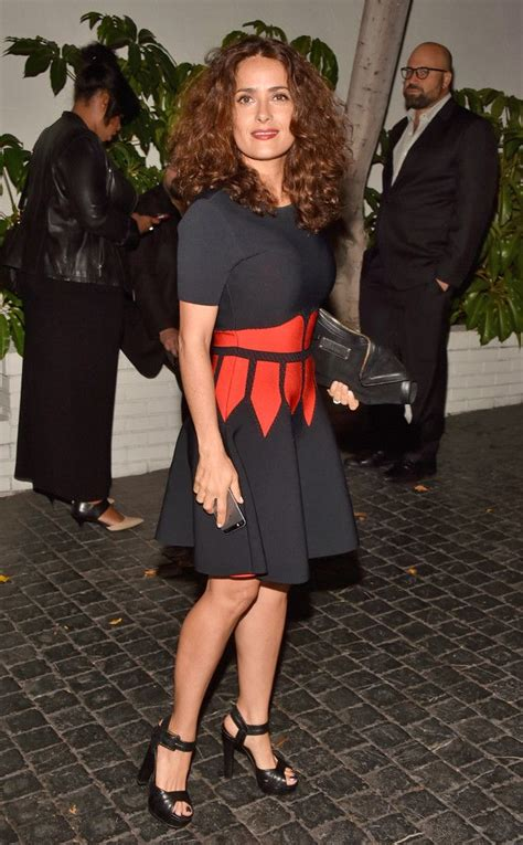 Salma Hayek is a stunning fit and flare dress that gives ...