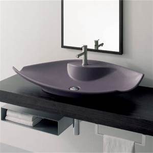 Unique white ceramic vessel sink with flat profile for Flat bathroom sinks