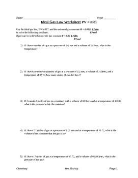 ideal gas worksheet by s chemistry corner tpt