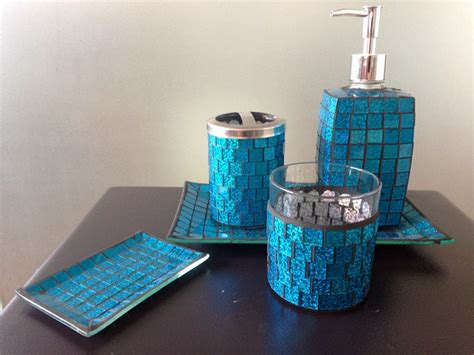 blue crackle glass bathroom accessories pearl mosaic crackle glass bathroom accessory set buy