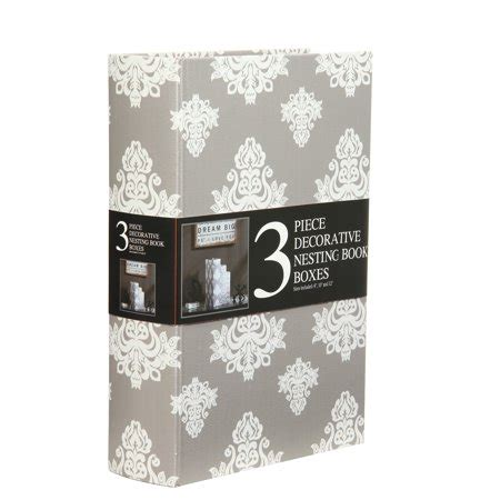 decorative nesting storage book boxes set   grey