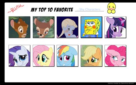 My Top 10 Favorite Shy Characters By Littledoegiuli95 On