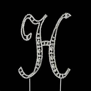 vintage swarovski crystal wedding cake topper letter h With swarovski crystal letters