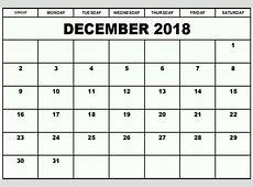 December 2018 Calendar A4 Calendar Template Letter