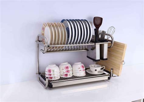 kitchen dishes organizer 2 tier stainless steel dish plate cutlery rack kitchen 1555