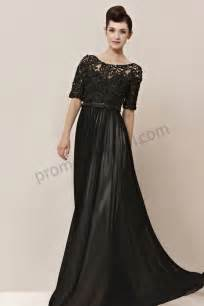 prom dresses online black round neck lace short sleeves