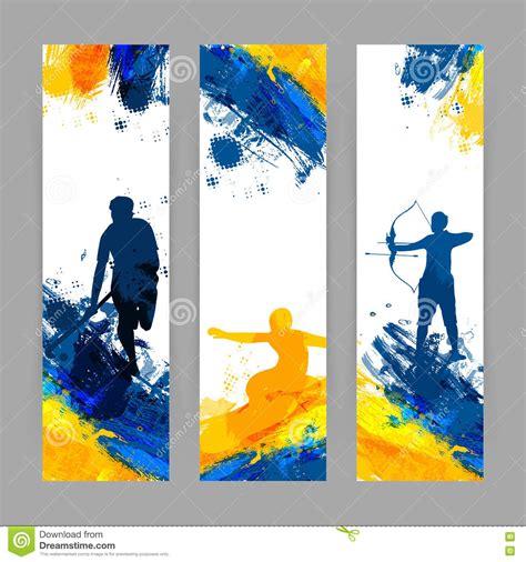 Sports Background Designs by Website Banner Set For Sports Concept Stock Illustration