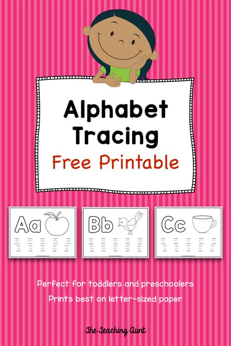 alphabet tracing  printable  teaching aunt