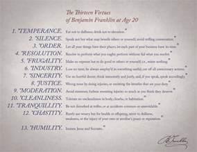 Benjamin Franklin 13 Virtues Chart