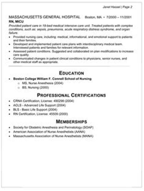 Anesthetist Resume by 1000 Images About Rn Resume On Sle Resume Anesthetist And Cover Letters