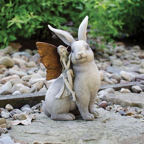 bunny garden statue enchanted a rabbit garden statue gardens