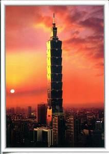 Collect, Roc, Taiwan, Postcards, Taipei, 101, Tower, Sunset