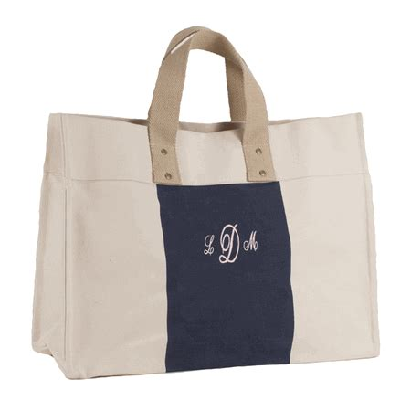 monogram canvas city tote bag embroidered