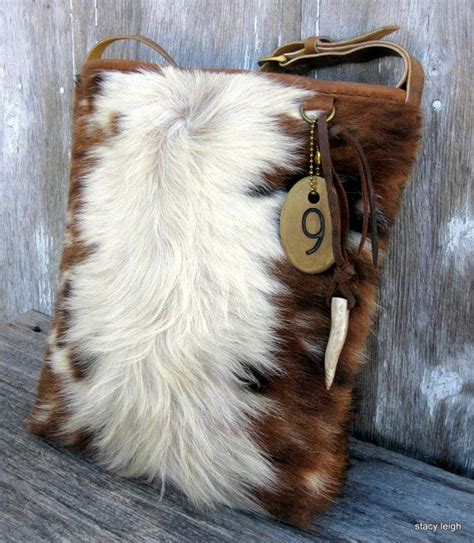 Hair On Cowhide - tri color hair on cowhide leather bag by