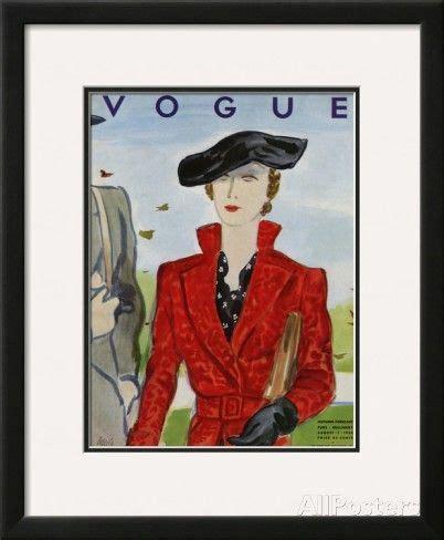 'Vogue Cover August 1934' Framed Giclee Print Eduardo
