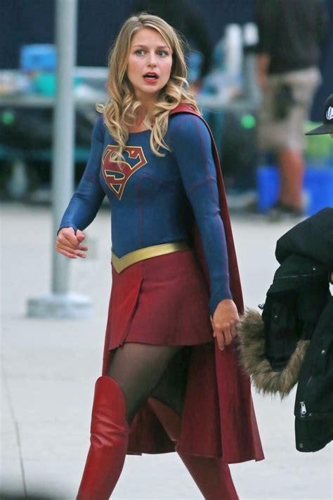 melissa benoist supergirl set  downtown vancouver