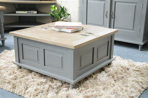 shabby chic trunk coffee table painted pine shabby chic french square storm grey trunk coffee table