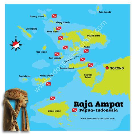 raja ampat map map  raja ampat islands  west papua