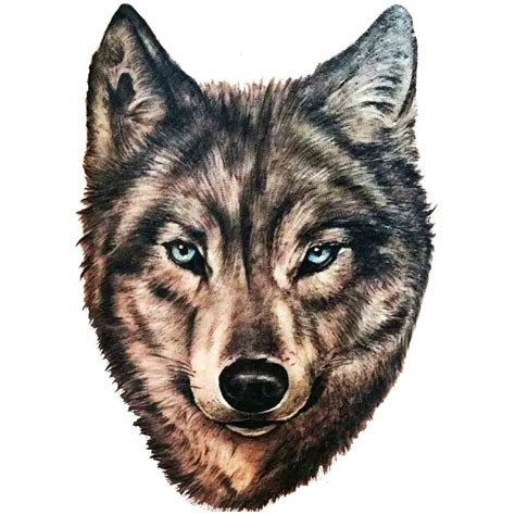 tatoo temporaire tete de loup realiste