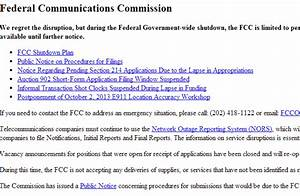 FCC Website no longer functional due to US Government ...