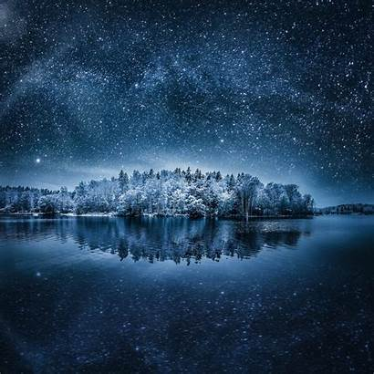 Night Landscape Winter Nature Stars Space Sky