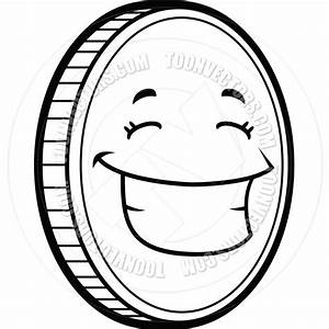 Quarter Money Coins Coloring Coin Clipart Black And White ...