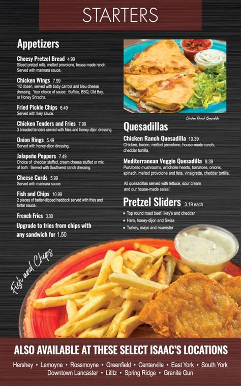 starters menu isaacs restaurants