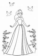 Princess Coloring Pages Roses Birds Course Clipartqueen sketch template