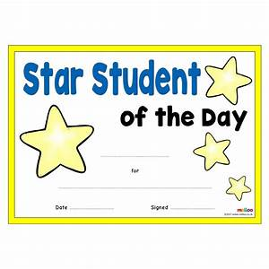 star student certificates eyfs ks1 ks2 With star of the month certificate template
