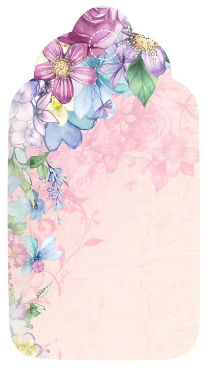 illustration tag flower romantic scrapbook