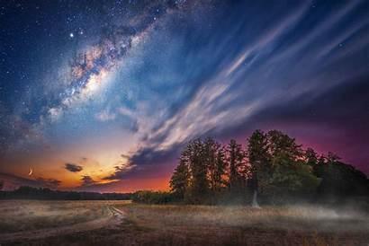 Sky Milky Night Way Stars Nature Landscape
