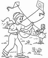 Kite Coloring Pages Playing Printable sketch template