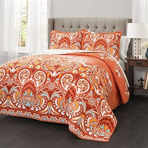 3 piece orange damask quilt king set all over bohemian themed bedding bright boho chic colored