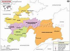 Political Map of Tajikistan Tajikistan Provinces Map