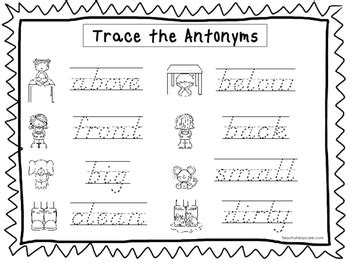 2 d nealian trace the antonyms worksheets preschool 2nd 655 | original 2573888 1